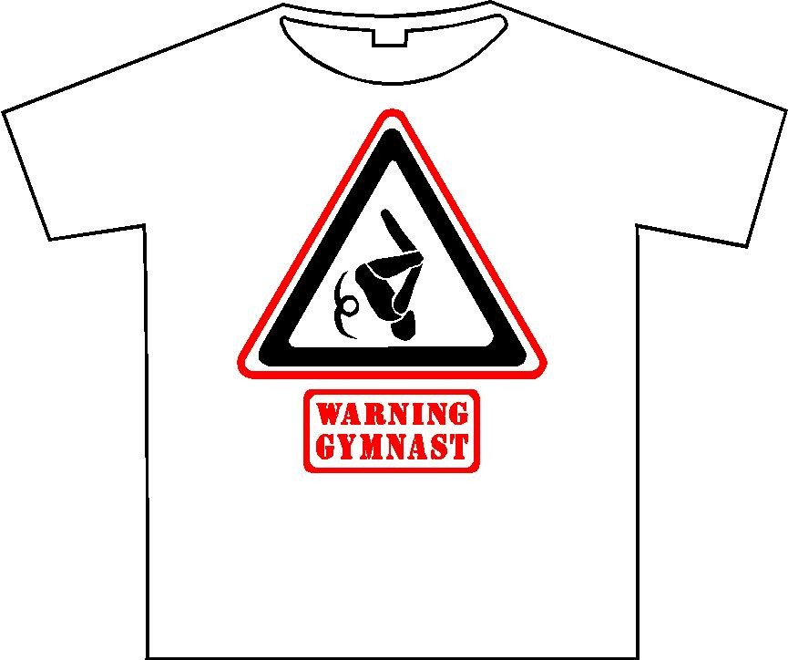 "T-shirt ""Warning gymnast"" wit/rood/zwart"